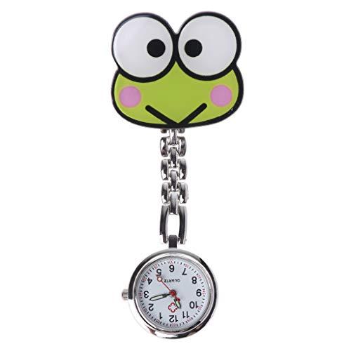 ESden Taschenuhr für Krankenschwester, tragbar, mit Clip, für Damen, Schmuck, Geschenke, niedliches Frosch, Tiermotiv