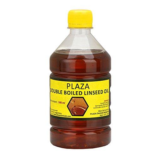 Plaza Leinöl/Leinsamenöl, doppelt Gekocht, 500 ml, für Holzveredelung, an Wänden vor Dem Auftragen von Farbe, Mischen in Spachtel, für Holzmöbel, Außenmöbel Etc. - Plaza