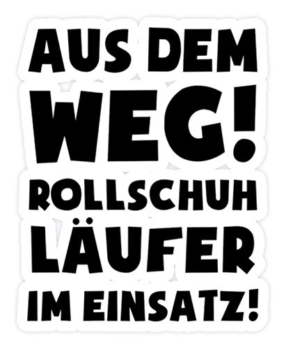 shirt-o-magic Aufkleber Rollschuhe: Rollschuhläufer im Einsatz! - Sticker - 10x10cm - Weiß