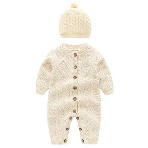 Livoral Baby Wintermantel Overall Neugeborenes Baby Mädchen Pullover Strickhaken Overall Kapuzenmütze(Weiß,0-6 Monate)