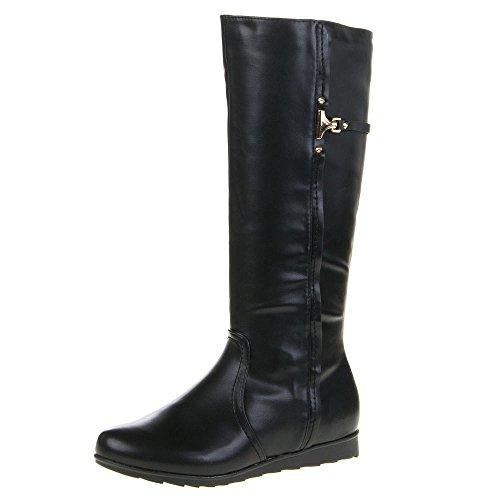 Damen Schuhe, QQ-55, STIEFEL Schwarz