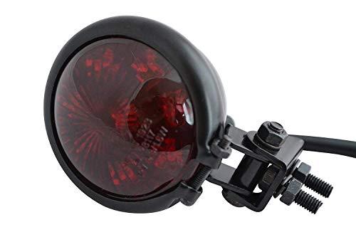 Moto LED Luce Stop Posteriore - Omologato - Lucido Nero con Lente Rossa per Cafe Racer, Scrambler, Progetto di Personalizzazione