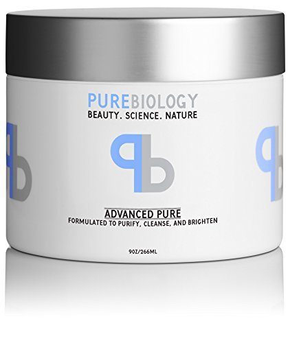 Pure Biology Clay Face Mask, 9 oz - Deep Pore Cleanser For Reduction in Pores, Spots, Blackheads & Acne - Infused w/ Pea Peptide Extract to Instantly Brighten & Smooth