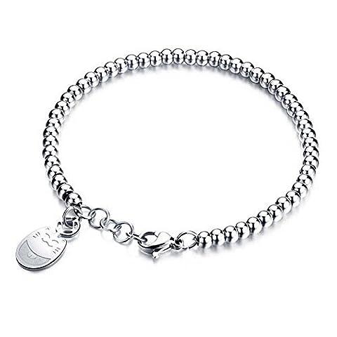 LALOPEZ Damen Edelstahl Silber Glücklich Katze Wulstige Kette Armband (Amethyst Sterling Silber Kruzifix)