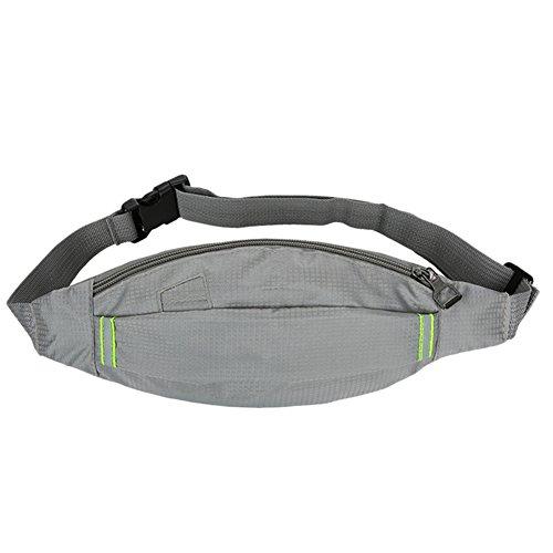 Reefa Square Hidden Grid Outdoor Unisex Running Sport Reisen Thin Body Unsichtbare Taille Tasche hellgrau