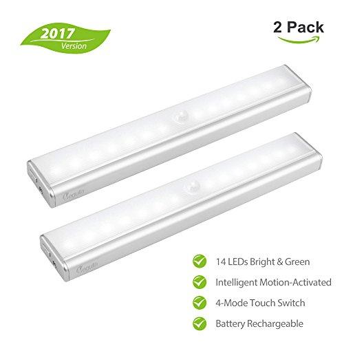 megulla® 14-led wiederaufladbar Li batteriebetrieben Indoor Wireless LED Motion Sensor Licht für unter Schrank, Schrank, Speisekammer, Treppe, Flur, Schrank, attic-cool, weiß, 2Stück Motion-sensing-licht-schalter