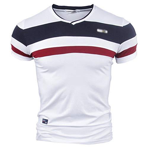 Minetom Herren T-Shirt Kurzarm Streifenshirt Sweatshirt V-Ausschnitt Patchwork Tees Tops Vintage Streifen Slim Bluse Sommer Sport Basic Hemd Rot EU XS Adult-patchwork Shirt