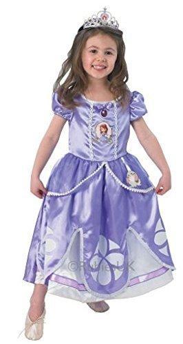Disney Mädchen Deluxe Prinzessin Sofia die Erste mit Tiara büchertag Woche Halloween Kostüm Kleid Outfit - Lila, Lila, 2-3 Years (Halloween-kostüme Sofia Die Erste)