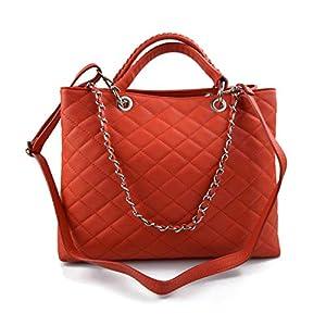 Damen schultertasche koralle orange leder damen handtasche damen henkeltasche leder damentasche leder schultertasche leder henkeltasche