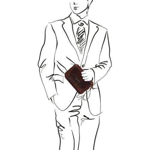 Tuscany Leather Ivan - Borsello a mano in pelle Testa di Moro Borse uomo in pelle Marrone