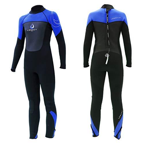 Legacy Surf Unisex Jugend Legacy Junior Neoprenanzug, 3/2 mm, volle Länge, Größe S, Blau