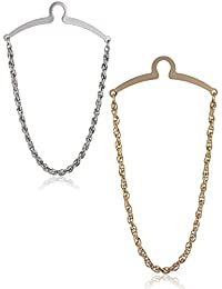 2 Pzs Cadenas Para Corbatas (Pisacorbata) Color Plata y Oro en Caja de Regalo