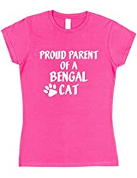 Click My Clobber Womens, T-Shirt, Proud Parent Of A Bengal Cat Great Christmas Gift Idea For Cat Lover,