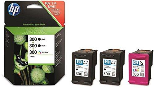HP 300 Multipack Original Druckerpatronen (2x Schwarz, 1x Farbe) für HP Deskjet D1660, D2560, D2660, D5560, F2480, F4224, F4280, F4580; HP ENVY 110, 114, 120, HP Photosmart C4680, C4780 -