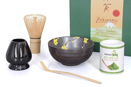 Bio-Matcha Starter Set 5-teilig, anthrazit/gelb gesprenkelt bestehend aus Matcha-schale, Matcha-löffel und Matcha-besen (Bambus), eleganter Geschenkbox. Original Aricola®