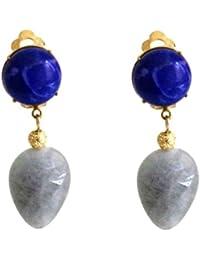 Gemshine - Pendientes de clip - Chapado en oro 18k - Lapislázuli - Aguamarina - Azul - Gota - 4 cm
