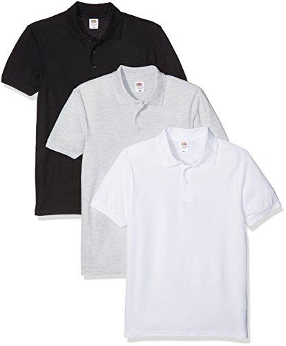 Fruit of the Loom Herren Poloshirt 3er Pack Multicoloured (White/Black/Heather)