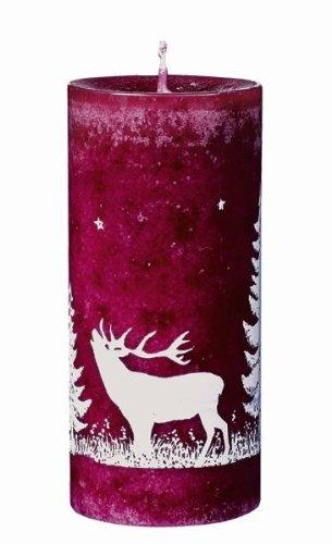 Foresta mit Hirsch durchgefärbte Stumpen Kerzen Weihnachtskerzen 12 x 5,5 cm Brombeer