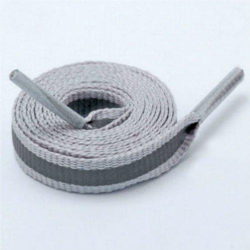 MINISU Polyester Austauschbare Hohe Sichtbarkeit Reflektierende Seide Schnürsenkel für Sportschuhe Skate Schuhe (Grau)