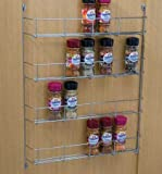 Four tier Back of door Spice, jar & packet rack -Chrome