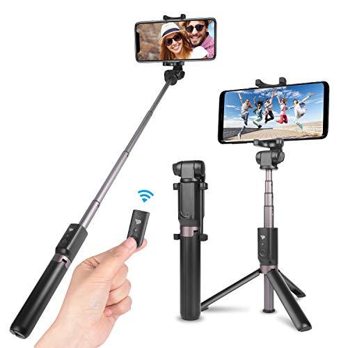 Power Theory Bluetooth Selfie Stick mit Handy Stativ und Fernauslöser - Selfiestick für Samsung Galaxy S10 S10+ S9 S8 S7 S6, iPhone XS Max X 8 7 6s Plus 6 und alle Smartphones - Selfi Halter Stange