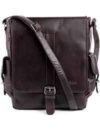FEYNSINN sac à bandoulière ASHTON - - sac en cuir avec bretelle approprié pour tablet - iPad - besace marron en cuir véritable