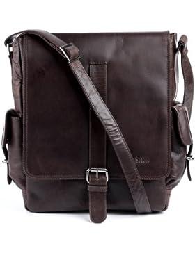 FEYNSINN® Messenger Bag ASHTON - Herren Umhängetasche groß Ledertasche fit für tablet - iPad - Kuriertasche Herrentasche...