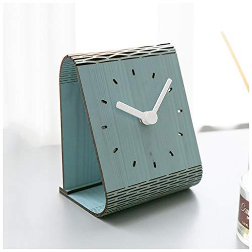 SMC Tischuhr American Modern Home Holz stumm dekorative Tischuhr - für Wohnzimmer Schlafzimmer Restaurant (Color : Blue, Größe : 11.2X11.2cm)