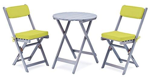 """Landmann 7-teiliges Balkonset """"Grey Washed"""" inkl. Auflagen mit rundem Tisch von Landmann Belardo"""