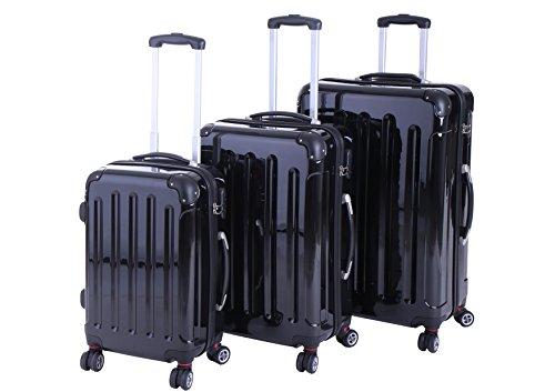 P-Collection Koffer Trolley Reisekoffer Hartschalenkoffer Handgepäck M-L-XL 3er/4er Set Zwillingsrollen 8 Farben (3er Set, schwarz)