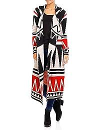 Damen Strickmantel Ethno Grafik Style Long Cardigan Einheitsgroesse 36 - 42