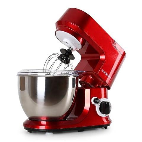 Klarstein Carina Rossa robot de cuisine avec bol en acier inox de 4L (6 vitesses, 800W, protection anti-éclaboussure) - rouge