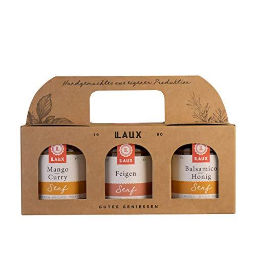 LAUX Senf Trio Geschenkset 3x130ml (Mango Curry Senf, Feigen Senf, Balsamico-Honig Senf)