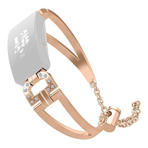 Hengzi Luxus-D-Word-Metallkristall-Uhrenarmband-Armband für Fitbit Inspire/Inspire HR (Rose Gold)