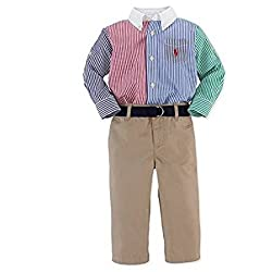 Ralph Lauren Polo Baby Boys Cotton Fun Shirt & Pant Set (12 Months)