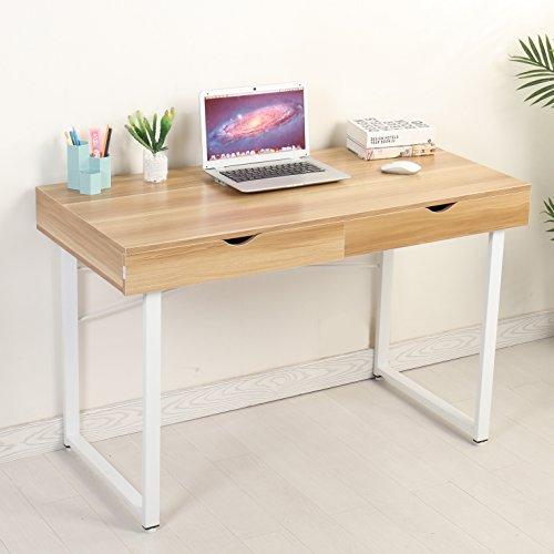 Mr IRONSTONE® – Mesa de ordenador moderna, escritorio, estación de trabajo con 2cajones, para el hogar y la oficina, color Pear Wood