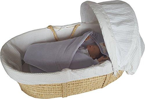 BlueberryShop Velours für AUTOSITZ mit Kapuze Wickeldecke Schlafsack für Neugeborene, 100% Baumwolle, 0-4M ( 0-3m ) ( 78 x 78 cm ) Grau