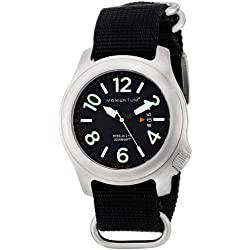 Momentum Steelix Men's Quartz Watch with Black Dial Analogue Display and Black Nylon Strap 1M-SP74B7B
