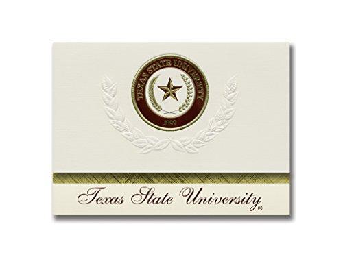 Signature Ankündigungen Texas State University Graduation Ankündigungen, platin Stil, Basic Pack 20mit Texas State u.-san Marcos Dichtung Folie