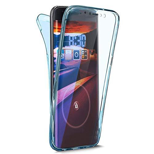 Ikasefu iPhone XR Hülle, transparent, ultradünn, transparent, 360 Seiten für Vorder- und Rückseite, Rundumschutz aus flexiblem TPU-Silikon-Schutz, stoßfest blau