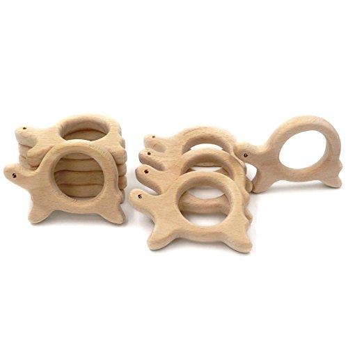 Coskiss 10pcs El caracol de madera / tortuga Colgante Mordedor dentición del bebé Mordedor Natural Ecológico Montessori Inspirado enfermería Orgánica Juguetes para niños (10)
