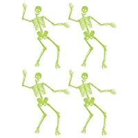 4Pcs Skull Luminous Wall Stickers Halloween Skeleton Decal Mural Art Stickers Glowing Decals