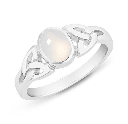 DTPsilver - Damen - Ring 925 Sterling Silber mit Mondstein - Keltisch Trinity Knoten