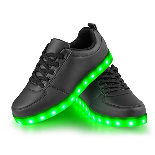 LED Schuhe, LEADFAS 7 Farben leuchten Sneaker Unisex Männer Frauen Sport Draussen Sportlich USB Aufladungs Trainer für Danksagungs Tages Weihnachten Halloween Geschenk LED Turnschuh (35 EU, Schwarz)