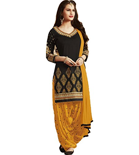 AdornMania Women\'s Cotton Semi-Stitched Salwar Suit (ORANGEPAT_Black_Free Size)