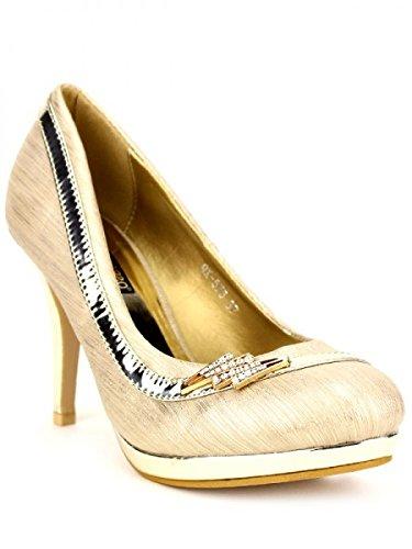 Cendriyon, Escarpin doré VISVERA Mode Chaussures Femme Doré