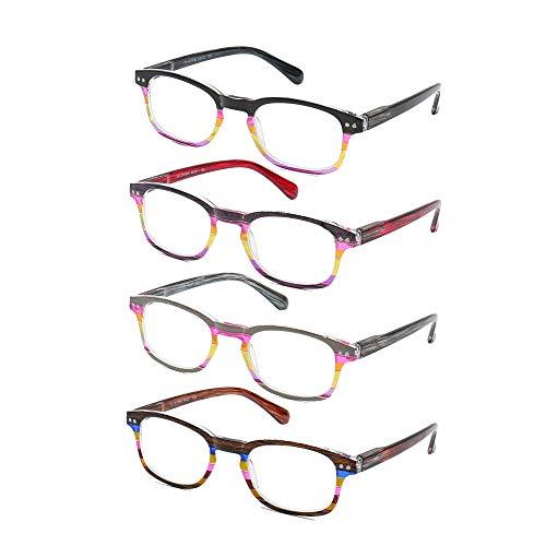 4 Pack Lesebrille Bunte Presbyopie Brille Mode ältere Brillen Feder Scharniere leichte tragbare Brillen reduzieren Ermüdung der Augen Anti-Anti-Belastung,3.5