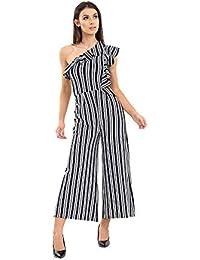 9a01ed53075 Verso Fashion New Women s UK Striped One Shoulder Culotte Jumpsuit Dress