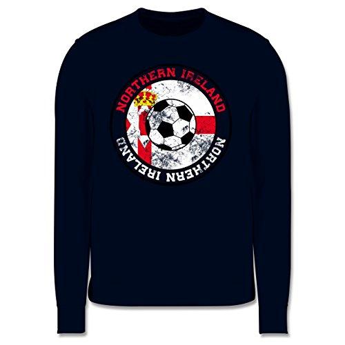 EM 2016 - Frankreich - Northern Ireland Kreis & Fußball Vintage - Herren Premium Pullover Dunkelblau