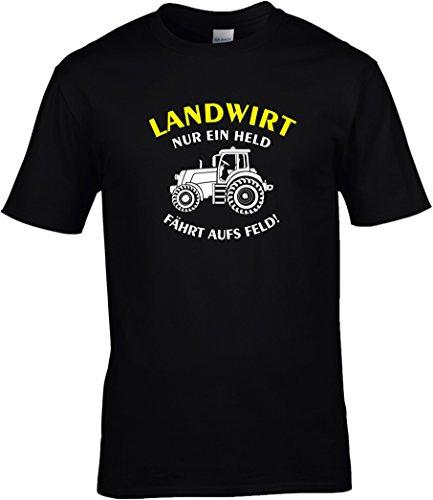 Fun Shirt Sprüche Landwirt - Nur ein Held fährt aufs Feld m. Trakor Rot